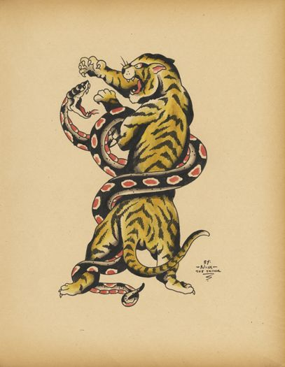 old school tattoo flash of tiger snake b tes pinterest my father snakes and design tattoos. Black Bedroom Furniture Sets. Home Design Ideas