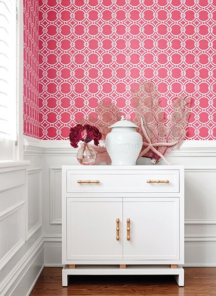 Gilon #wallpaper in #raspberry from the Geometric Resource 2 collection. #Thibaut