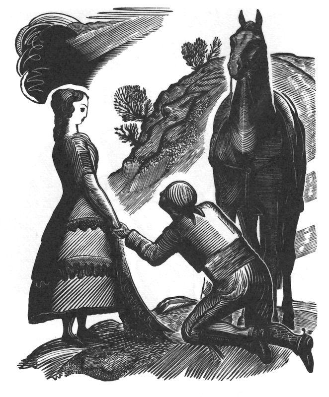 """Frontispiece for P. Mèrimée's """"Carmen"""" 1927. Wood engraving"""