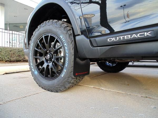 "Brand:SubaruModel:OutbackYear:2017Couleur:Black  Modifications:  Tires:245/65R17 BFGoodrichAll Terrain T/A KO2  Wheels: Motegi RacingMR118 17x8 Offset 45  Lift kit:2"" LP Aventure  Cargo basket: Yakima Loadwarrior  Mud flaps: Rally Armor"