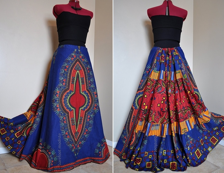 Ballad of the Blue - Long African Patchwork Skirt, Ethnic Dashiki Gypsy Skirt, Ooak, Blue Red Yellow tones, Can fit sizes - S to XL. $112.00, via Etsy.