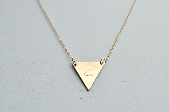 Large Gold Triangle Necklace 14k Gold Filled Gold Triangle Necklace Triangle Necklace Gold Filled Jewelry