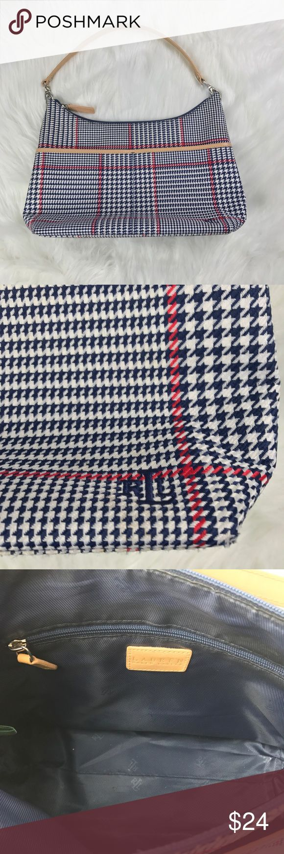 """Ralph Lauren Red White Blue Shoulder Bag Lauren Ralph Lauren Women's Red White Blue Shoulder Bag Houndstooth Tan Trim Purse has two outside pockets, inside zip compartment. Purse is pre owned and in excellent condition:  no rips, tears or stains Size: H 10"""" x L 13"""" Lauren Ralph Lauren Bags Shoulder Bags"""