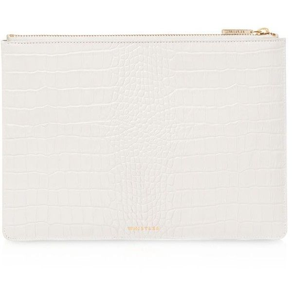 Whistles Shiny Medium Croc-Embossed Leather Clutch ($75) ❤ liked on Polyvore featuring bags, handbags, clutches, white handbags, white clutches, whistles handbags, white purse and croc embossed leather handbags