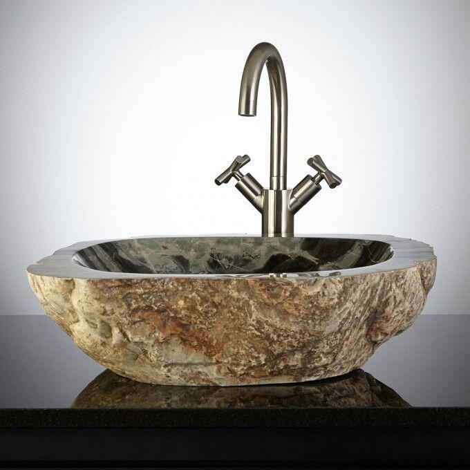 Natural Stone Vessel Sink. Http://www.signaturehardware.com/bathroom