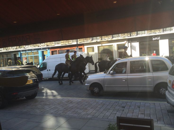 A familiar sight to many in London. The military riding their horses through the streets early in the morning.