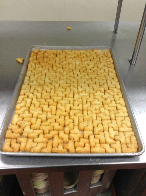 When the dinner lady was a Tetris champ. Although she could have tidied away the ones laying around the side.