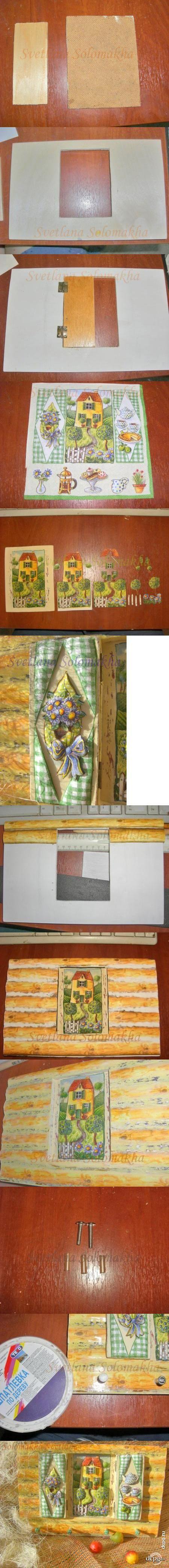 Декупаж - Сайт любителей декупажа - DCPG.RU | Делаем объемное панно-ключницу Click on photo to see more! Нажмите на фото чтобы увидеть больше!  decoupage art craft handmade home decor DIY do it yourself tutorial Materials and techniques: napkins prints acrylic paint varnish etc.