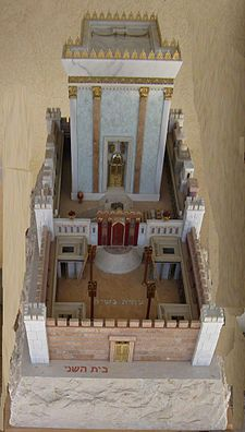 Herod's Temple as imagined in the Holyland Model of Jerusalem. It is currently situated adjacent to the Shrine of the Book exhibit at the Israel Museum, Jerusalem.
