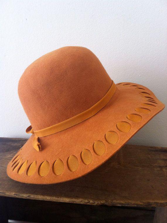 vintage 40s orange hat / floppy felt hat / by JohannaVintage, $47.00