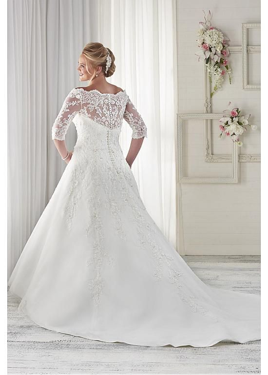 Marvelous Tulle Off-the-shoulder Neckline A-line Plus Size Wedding Dresses with Beaded Lace Appliques