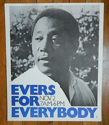 1971 Original Civil Rights Poster Charles Evers (brother of Medgar Evers)