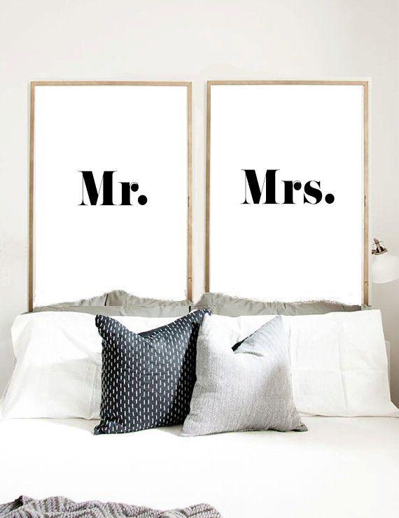M. et Mme, Art imprimable, Mr et Mme signe, impression typographie, Monsieur Print, sticker, Wall Decor Téléchargement instantané, cadeau de mariage