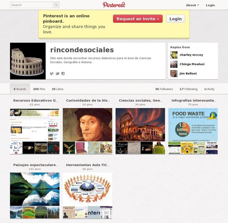Pinterest EXCLUSIU per recursos de CCSS  de secundària 'http://pinterest.com/rincondsociales/' courtesy of Pinstamatic (http://pinstamatic.com)