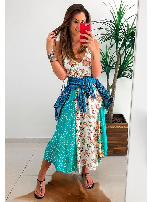 f725dfed6ab6 Vestido Patch Olinda Farm | Dresses | Vestidos de verão, Vestidos ...