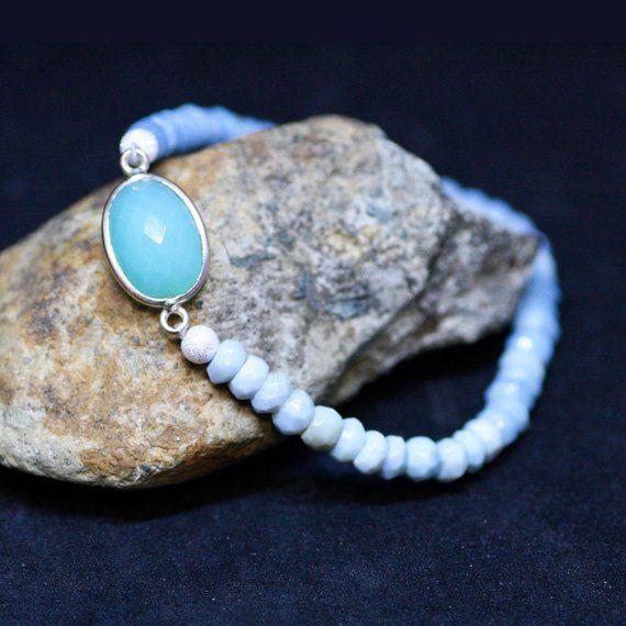 Natural Peru Blue Opal Chalcedony Stretch Bracelet Sterling Silver