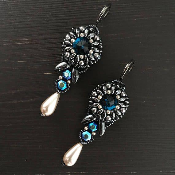 beaded earrings FISH TAIL earring crystal earrings cocktail