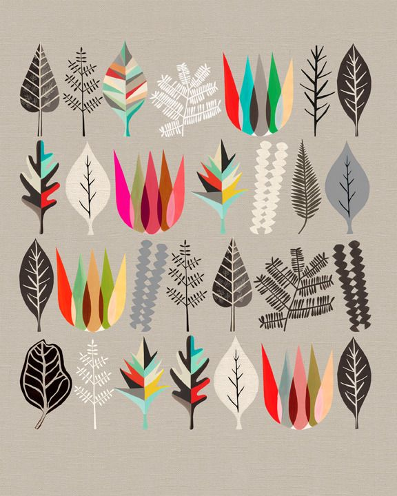 Image of Botanical Assembly No: 1 by INALUXE: Fall Leaves, Prints Patterns, Leaf Prints, Botanical Prints, Botanical Illustrations, Art Prints, Botanical Assembl, Graphics Design, Colour Palette