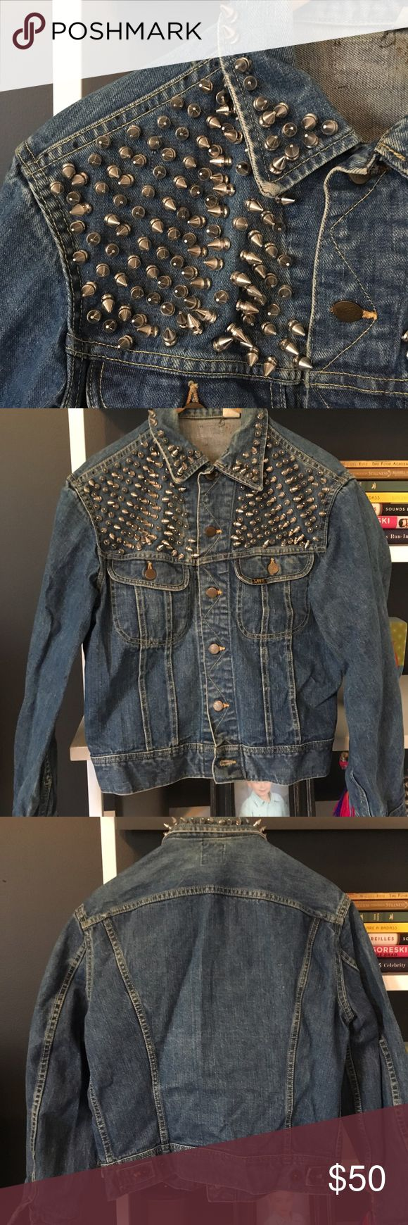 LEE studded jean jacket Handmade by me! Each spike was individually screwed into the jacket. LEE jean jacket in a small. Has a nice weight to it. Definitely a statement piece. Hard to part with. Ask for measurements if need be! Lee Jackets & Coats
