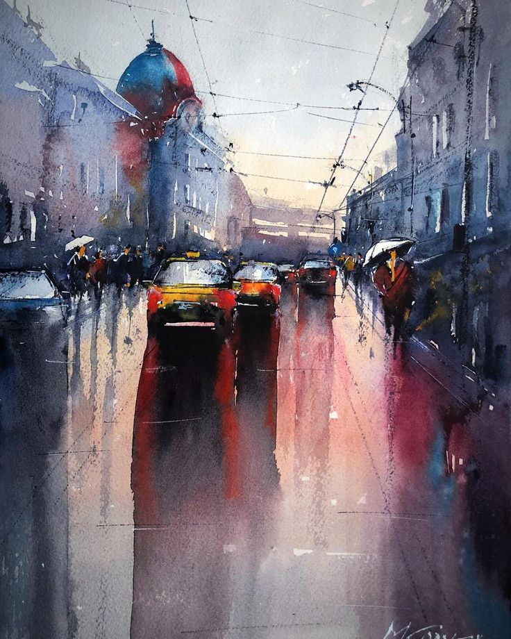 Rainy Day in Bucharest, watercolor painting