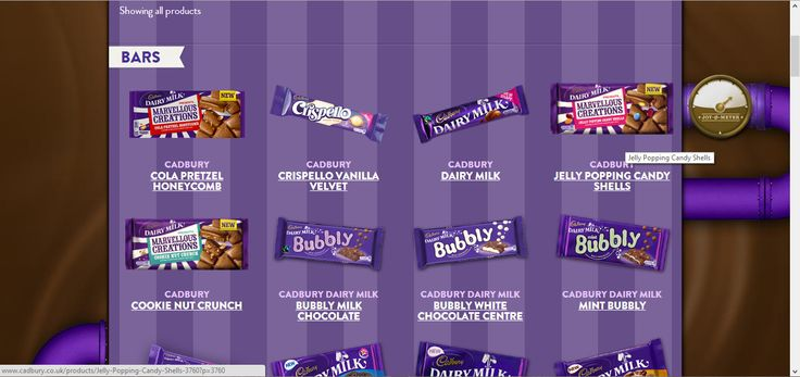 The is the product page. There is a small categories page before the categories of cadbury chocolate. User can search the cadbury chocolate they want by clicking the types and ingredients. The website will show user the chocolate they are searching for. It makes users simple to search.