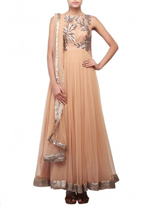 Brown anarkali suit embellished in sequence embroidery only on Kalki