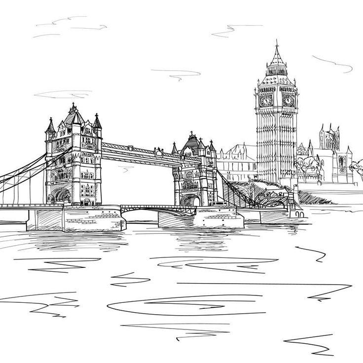 London Bridge Line Art Backdrop – 7413 – Галина