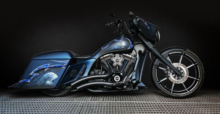 Blue Bat Bagger.    http://msartrix.com/en/project/custom-harley-davidson-bagger