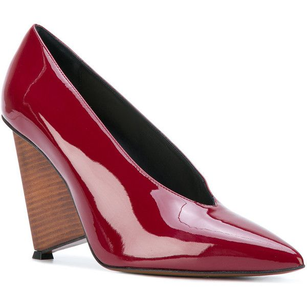 Alain Tondowski wedge pumps ($486) ❤ liked on Polyvore featuring shoes, pumps, red wedge pumps, high heel wedge shoes, pointy toe wedge pump, wedge heel shoes and red wedge shoes
