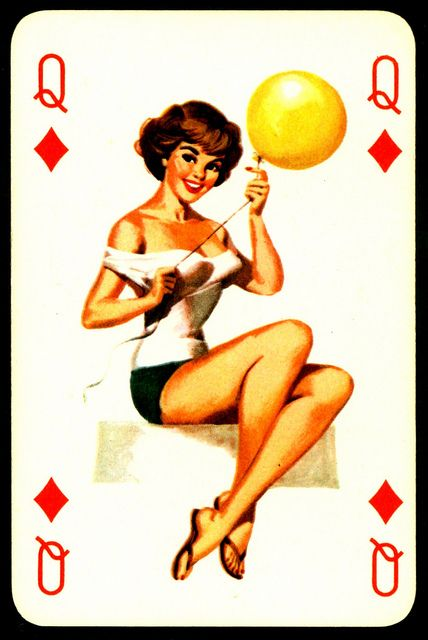 Pin Up Playing Card - Queen of Diamonds. Via: cigcardpix on Flickr.