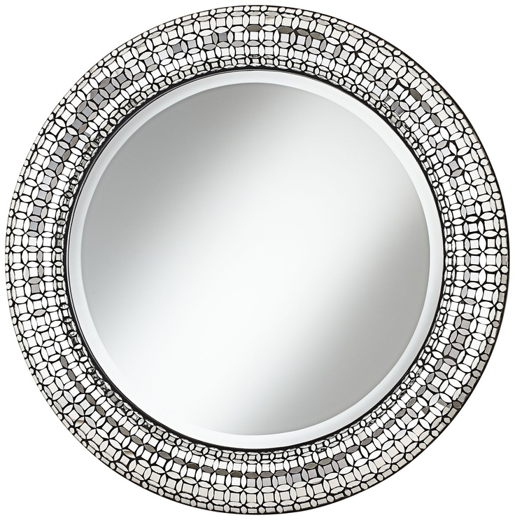"Jewel Glass Mosaic 33 1/4"" High Round Wall Mirror - EuroStyleLighting.com"