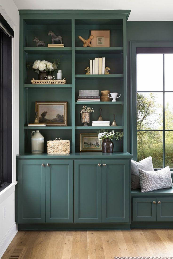 Modern Tudor Pt Ii Bria Hammel Interiors Green Home Offices Home Office Shelves Bookshelves Built In