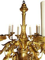 An Important Palatial Very Fine and Rare Italian 19th Century Florentine Rococo Gilt wood Carved Six-Candle arms and Twenty Four-Light Chandelier. The scrolled candle arms, each with three single-light candelabra and a single light on the arm, above an acorn cartouche, now electrified. Gilt is original with some minor restorations. Circa: Florence, 1800's