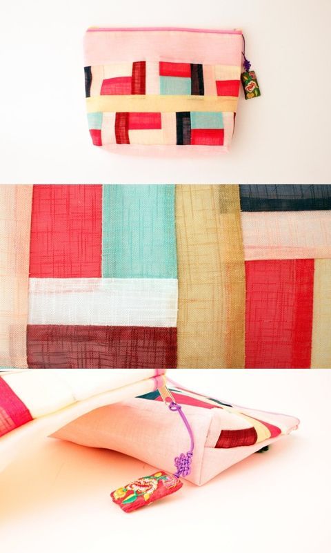 This patchwork zipper pouch is a very practical item designed with Korean traditional patchwork.