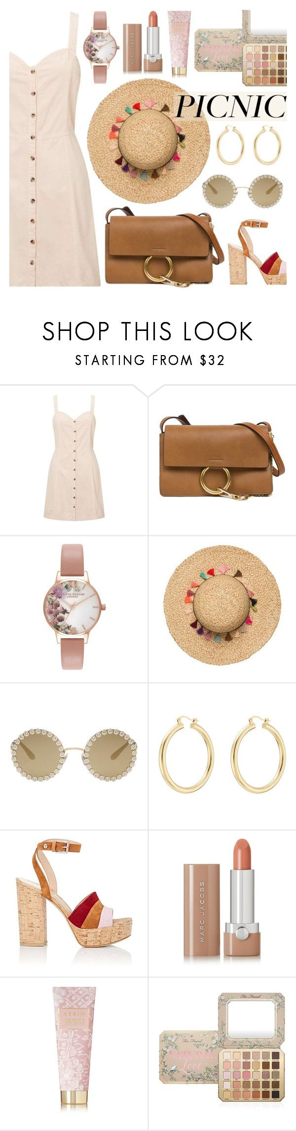 Picnic in The Park by dora04 on Polyvore featuring Miss Selfridge, Gianvito Rossi, Chloé, Olivia Burton, Isabel Marant, Dolce&Gabbana, Too Faced Cosmetics, Marc Jacobs, AERIN and picnic