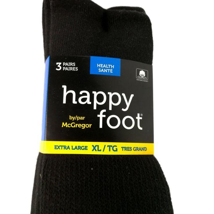 Happy Foot Health Socks Black 3 Pack XL 14-16 Mens Shoe Size Canadian Medical #McGregor #Health