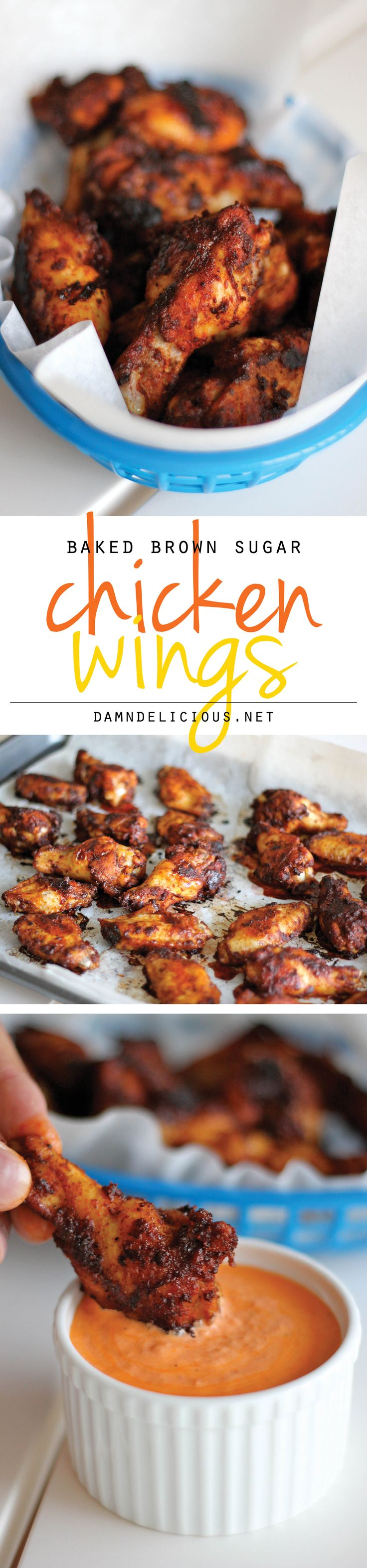 Baked Brown Sugar Chicken Wings with Roasted Red Pepper Cream Sauce - Amazingly crisp, baked wings served with a creamy dipping sauce!