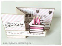 Double-Z-Card mit Torte zum Geburtstag