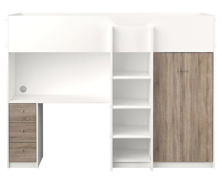 """Lyon Barneseng - Hvid/Trøffel - Smart multifunktionel køjeseng, som rummer både skrivebord og garderobeskab såvel som seng og opbevaringsmuligheder. Køjesengen har et moderne design med den flotte egetræsstruktur kombineret med det hvide. Det funktionelle møbel passer perfekt til """"small space living""""."""