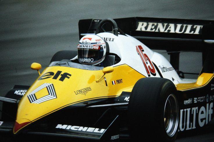 Alain Marie Pascal Prost (FRA) (Equipe Renault Elf), Renault RE40 - Renault Gordini EF1 1.5 V6 (t/c) (finished 2nd) 1983 European Grand Prix, Brands Hatch