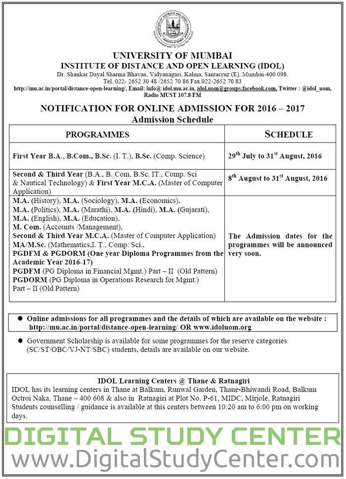 ONLINE ADMISSION FOR 2016 u2013 2017 under UNIVERSITY OF MUMBAI - admission form school