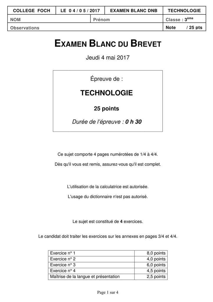 Sujet 45 Brevet De Technologie College Rabelais Niort Technologie College Technologie Sujets