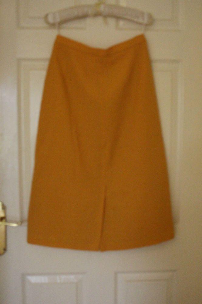 vintage owmen skirt yellow / mustard midi wool mix siz M 12/ 14