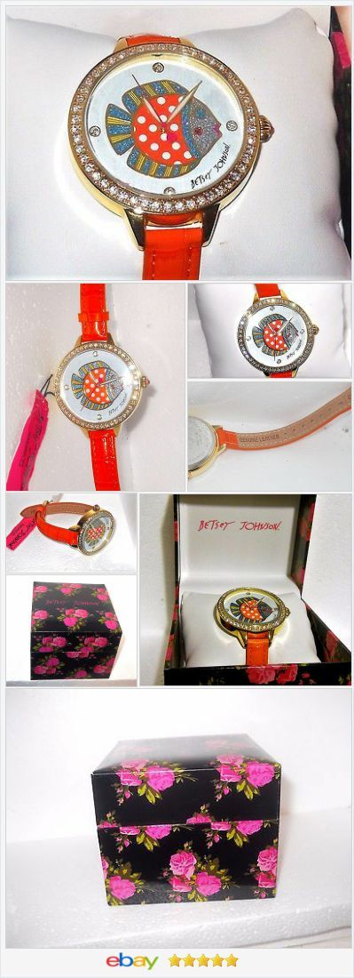 Betsey Johnson Crystal Fish Orange leather Strap WATCH USA SELLER #EBAY http://stores.ebay.com/JEWELRY-AND-GIFTS-BY-ALICE-AND-ANN