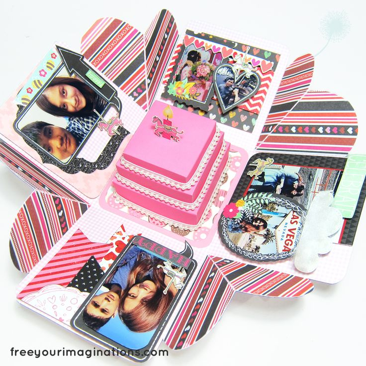 This is Inside View Explosion Box for Girlfriend Birthday titled Candyland with theme Ballon & Carnival Horse Cartoon, and Pink Elegance Theme featuring Rectangular Cake in the middle