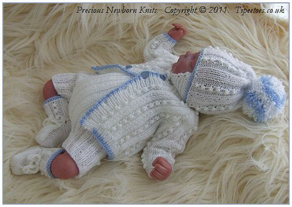 Baby Knitting Pattern Newborn Baby Boys door PreciousNewbornKnits