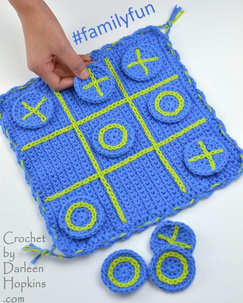 #familyfun crochet pattern tic-tac-toe travel game crochet pattern by Darleen…