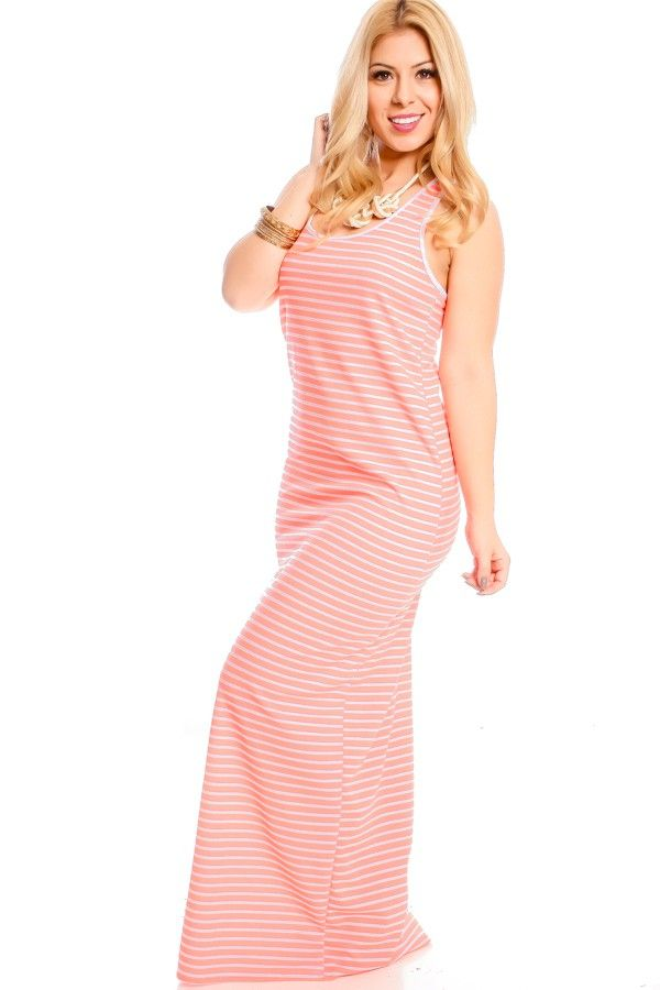 NEON CORAL WHITE STRIPES SCOOP NECK RACER BACK STRETCHY LONG MAXI DRESS,Sexy Maxi Dresses-Sexi Maxi Dresses,Sexy Long Dresses,Chiffon Maxi Dress,Long Maxi Dresses,Long Sleeve Maxi Dress,White Maxi Dress,Floral Maxi Dresses,Sexy Black Maxi Dress,Mermaid Maxi Dress,Two Piece Maxi Dress,Off The Shoulder Maxi Dress