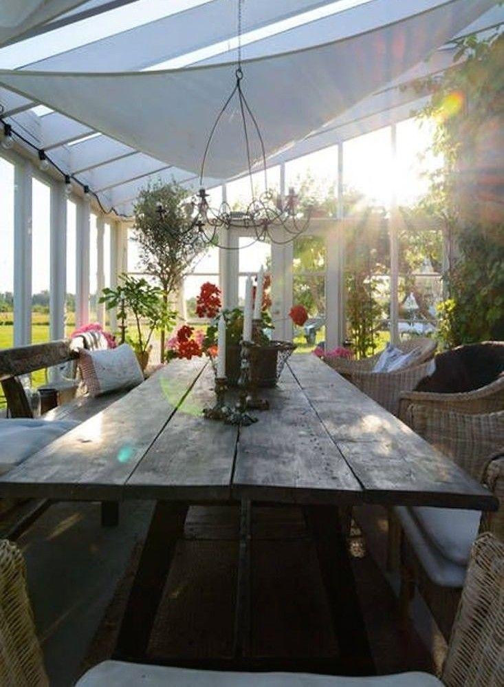 Gotland orangery outdoor dining shade canopy ; Gardenista
