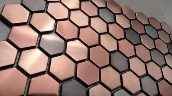 Hexagon Metal Mosaic Wall Tiles Backsplash Smmt055 Copper Bronze Black Stainless Steel Metallic Mosaic Til Hexagonal Mosaic Rose Gold Kitchen Mosaic Wall Tiles